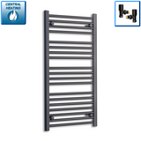 600mm Wide 1000mm High Black Towel Rail Radiator With Angled Valve