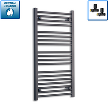Load image into Gallery viewer, 600mm Wide 1000mm High Black Towel Rail Radiator With Straight Valve
