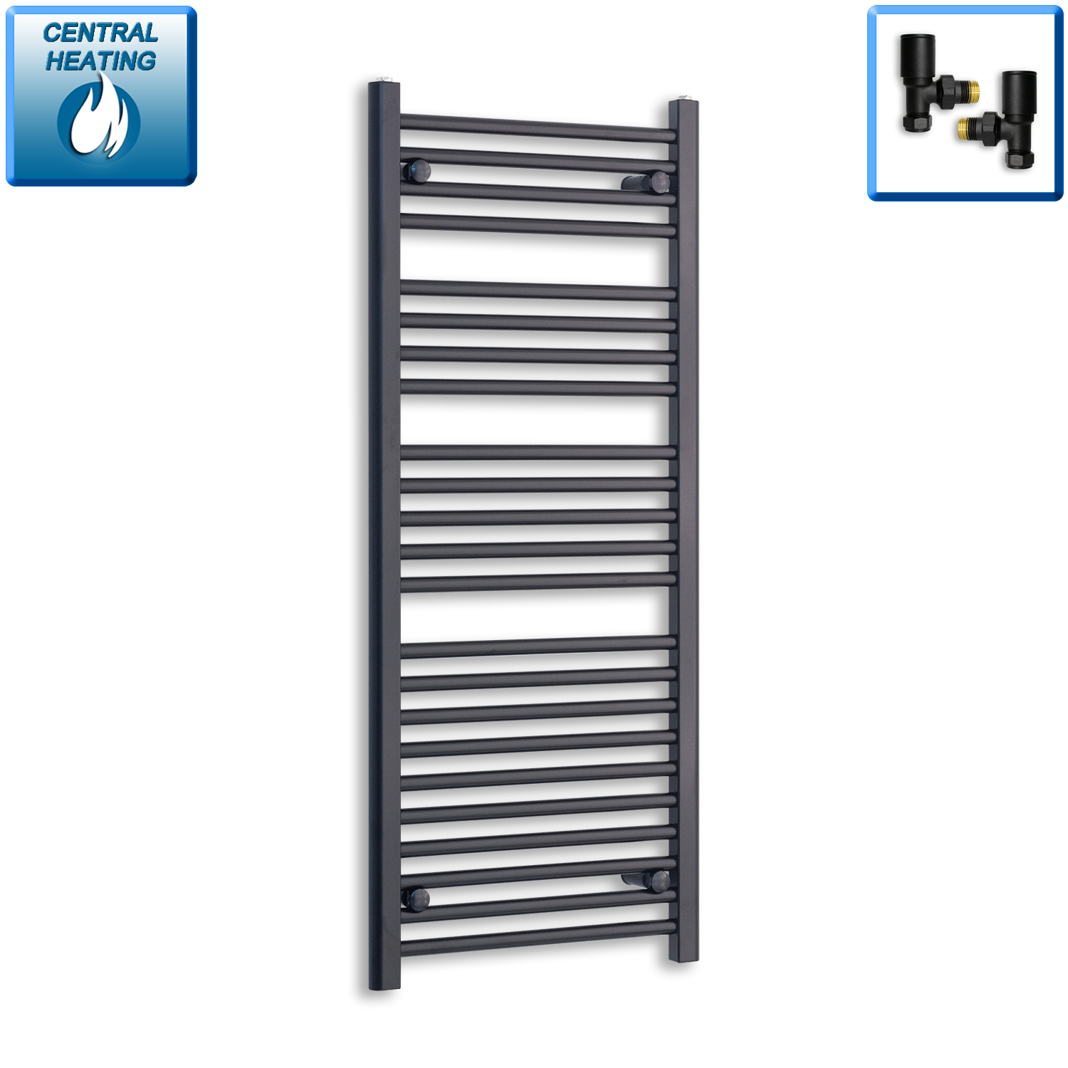 600mm Wide 1200mm High Black Towel Rail Radiator With Angled Valve.