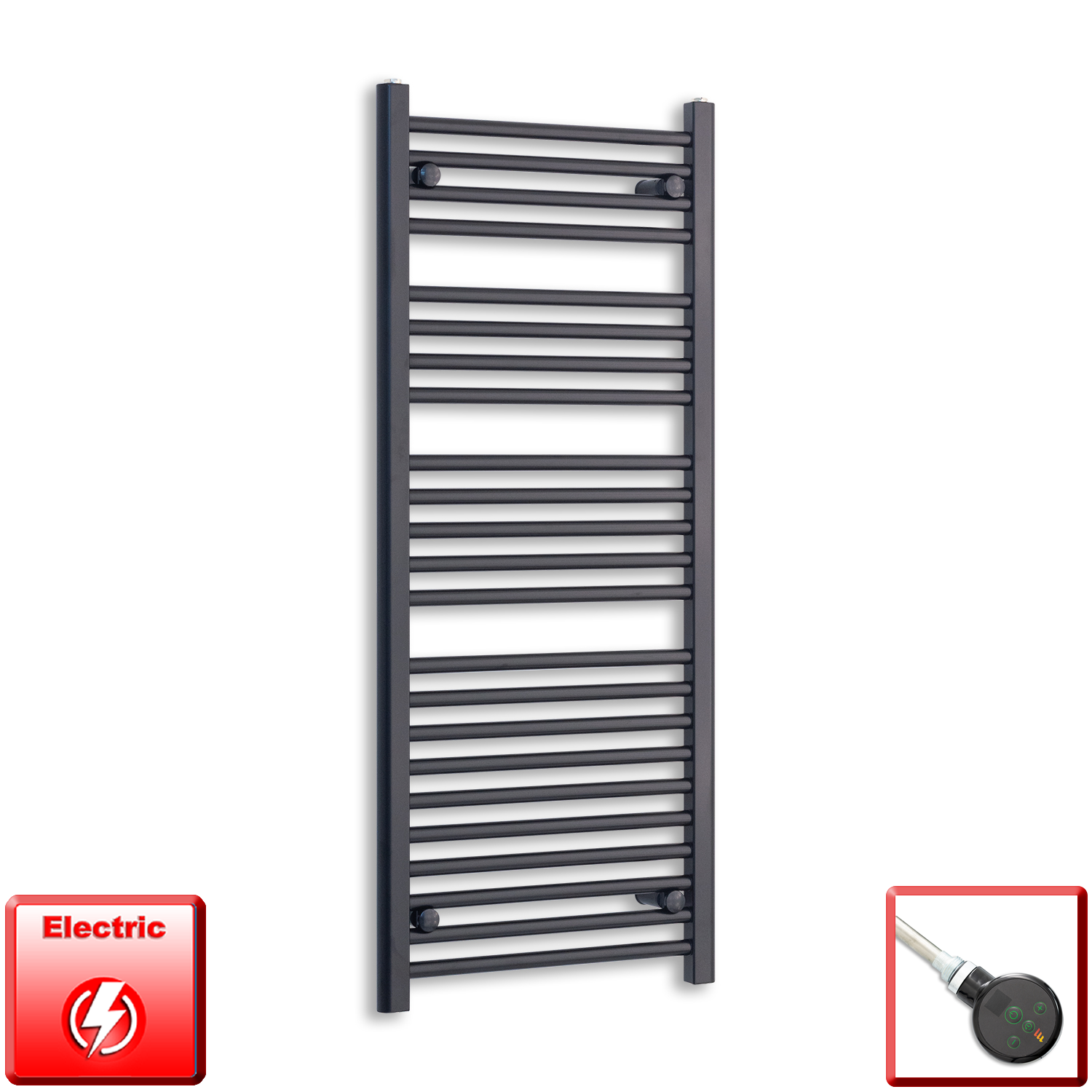 600mm Wide 1200mm High Pre-Filled Black Electric Towel Rail Radiator With Thermostatic DIGI Element