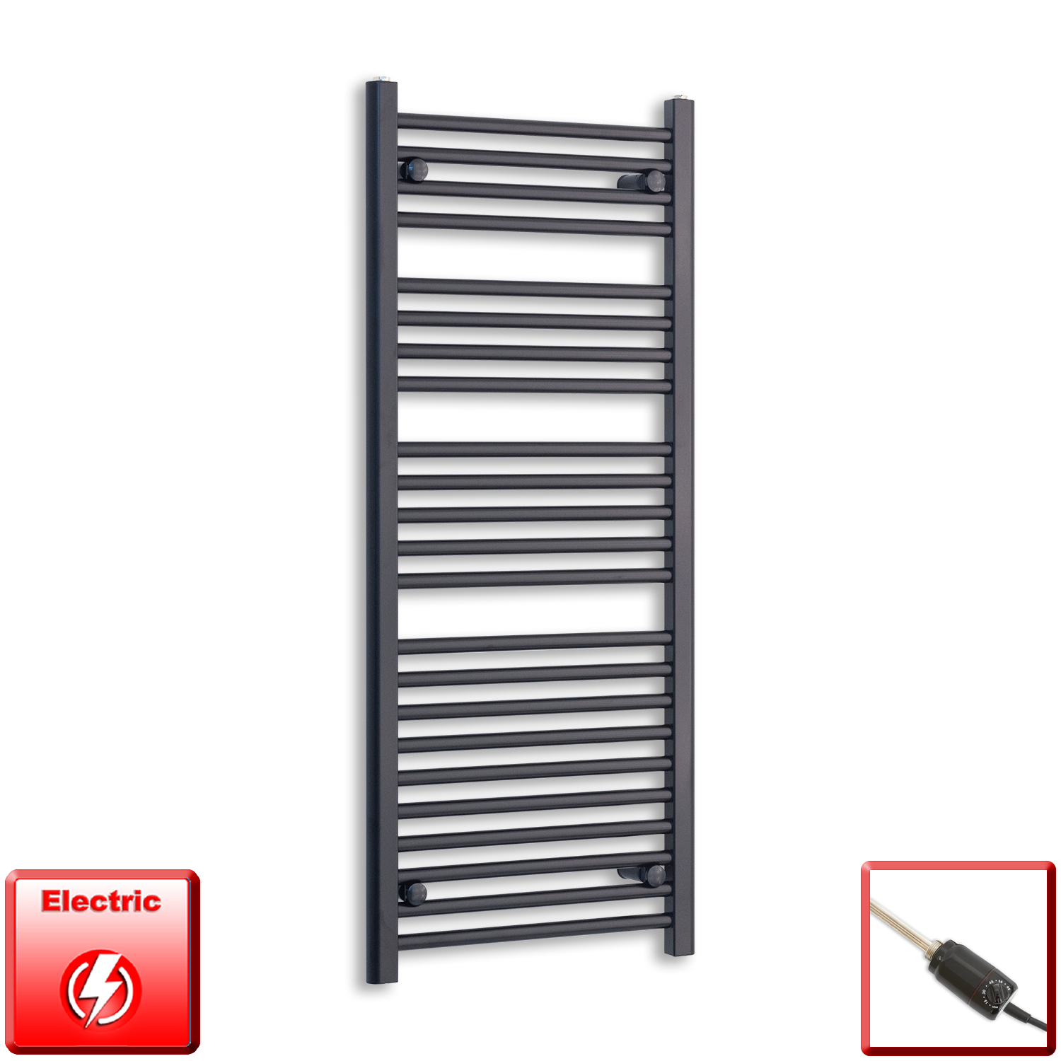 600mm Wide 1200mm High Pre-Filled Black Electric Towel Rail Radiator With Thermostatic GT Element
