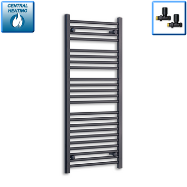 500mm Wide 1200mm High Black Towel Rail Radiator With Straight Valve