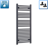600mm Wide 1200mm High Black Towel Rail Radiator With Straight Valve