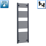 600mm Wide 1600mm High Black Towel Rail Radiator With Angled Valve