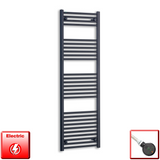 500mm Wide 1600mm High Pre-Filled Black Electric Towel Rail Radiator With Thermostatic DIGI Element