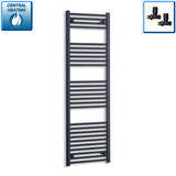 600mm Wide 1600mm High Black Towel Rail Radiator With Straight Valve