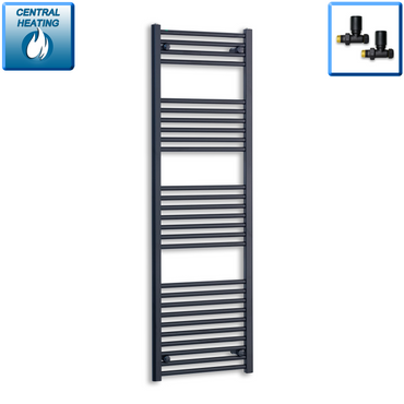 500mm Wide 1600mm High Black Towel Rail Radiator With Straight Valve