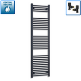 500mm Wide 1800mm High Black Towel Rail Radiator With Angled Valve