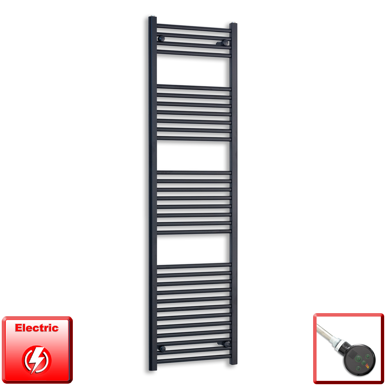600mm Wide 1800mm High Pre-Filled Black Electric Towel Rail Radiator With Thermostatic DIGI Element