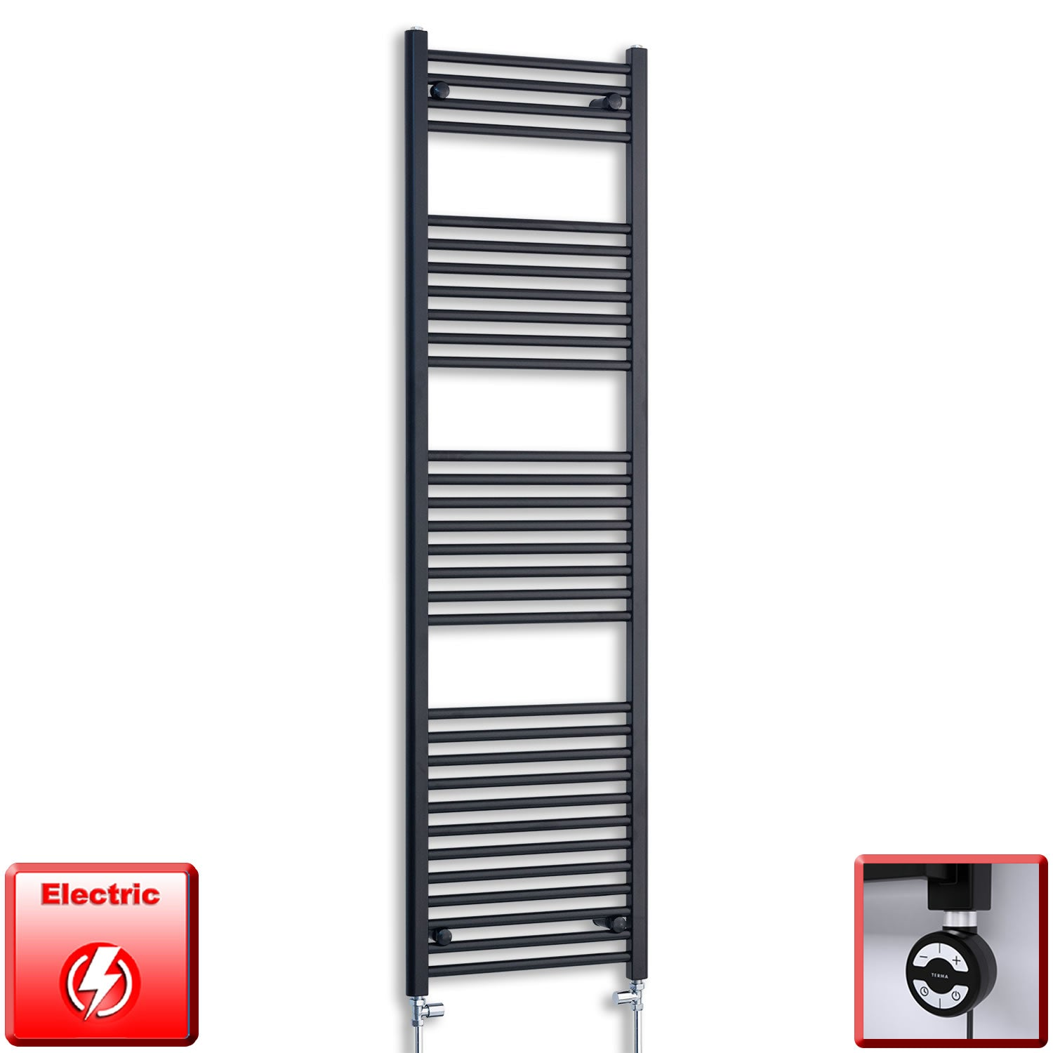 600mm Wide 1800mm High Pre-Filled Black Electric Towel Rail Radiator With Thermostatic MOA Element