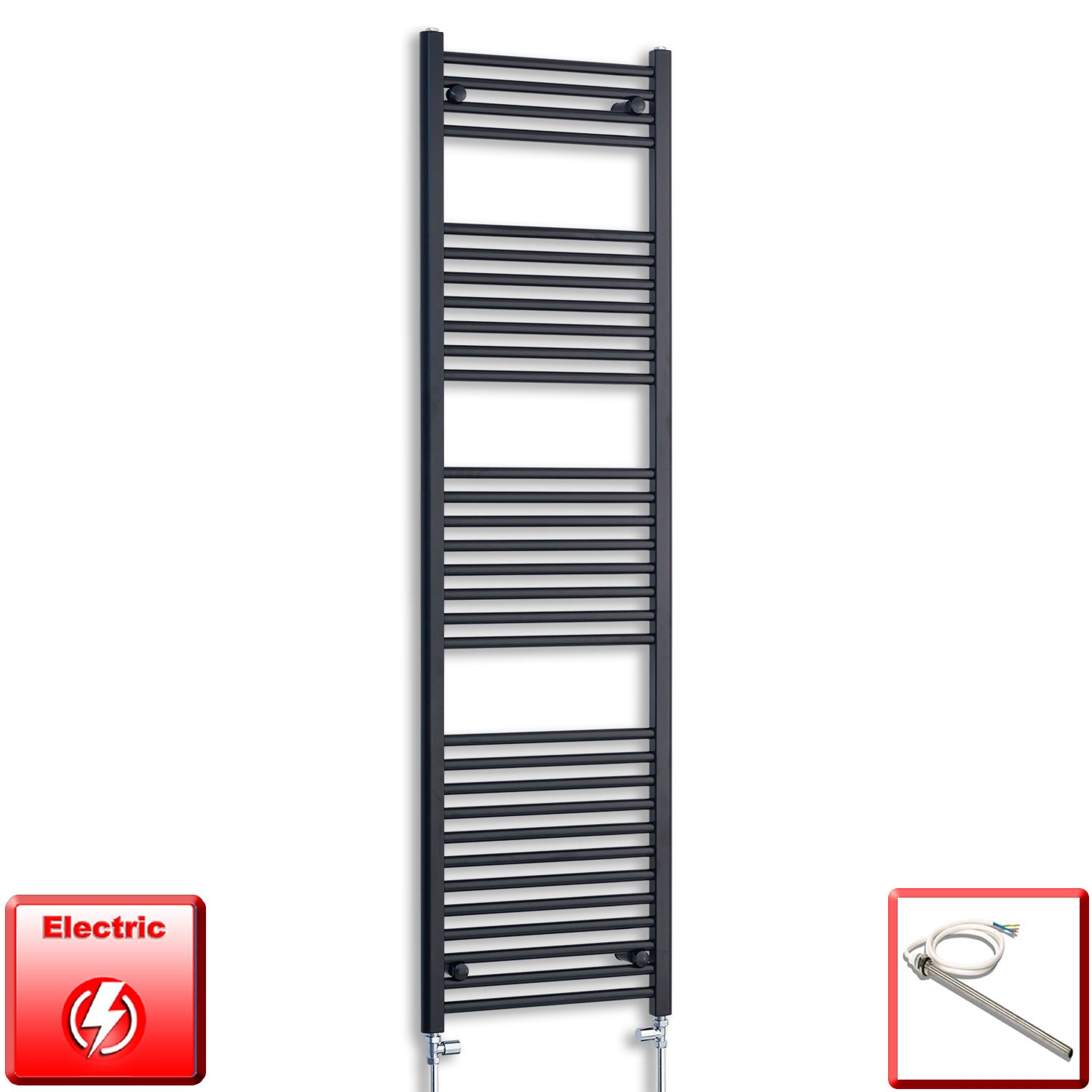 500mm Wide 1800mm High Pre-Filled Black Electric Towel Rail Radiator With Single Heat Element