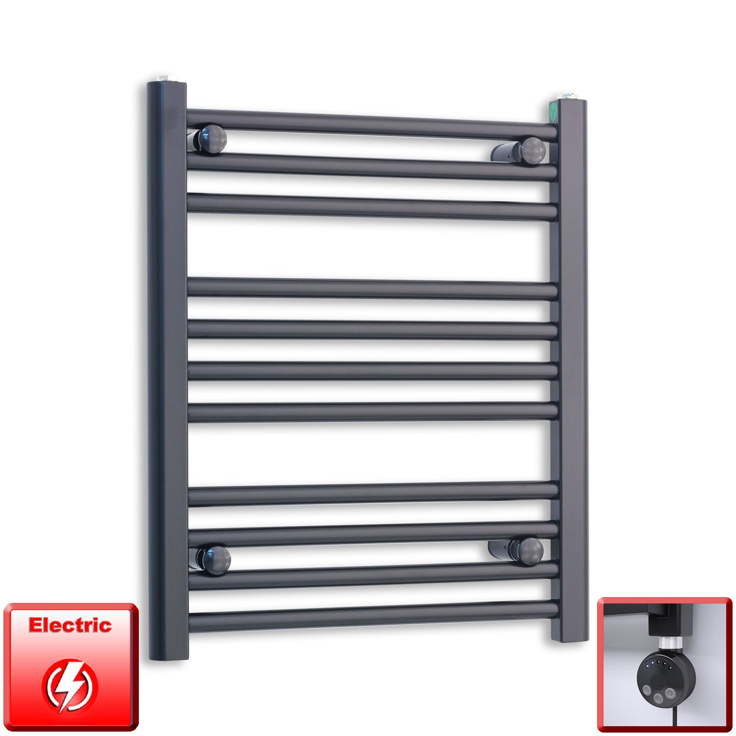 600mm Wide 600mm High Pre-Filled Black Electric Towel Rail Radiator With Thermostatic MEG Element