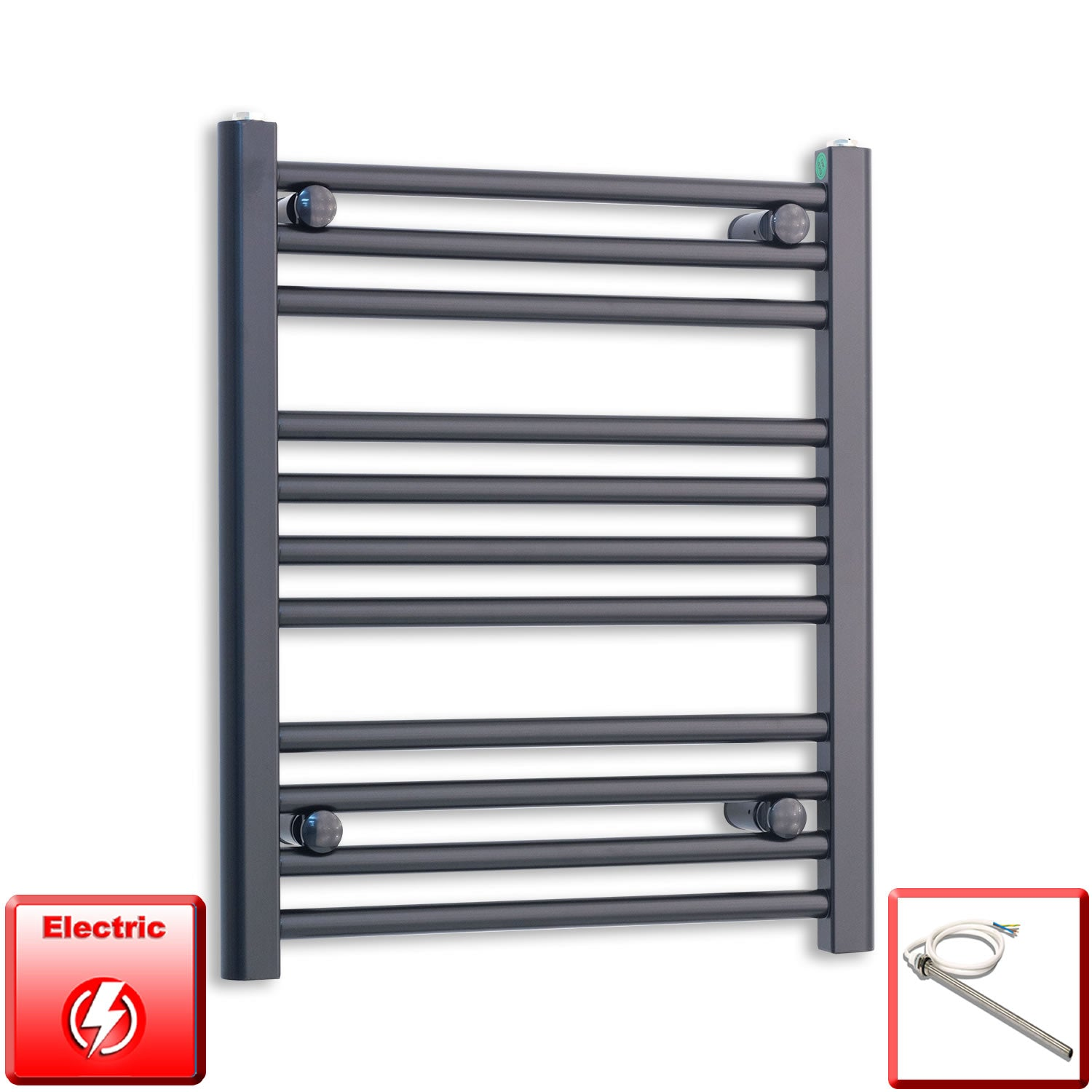 600mm Wide 600mm High Pre-Filled Black Electric Towel Rail Radiator With Single Heat Element