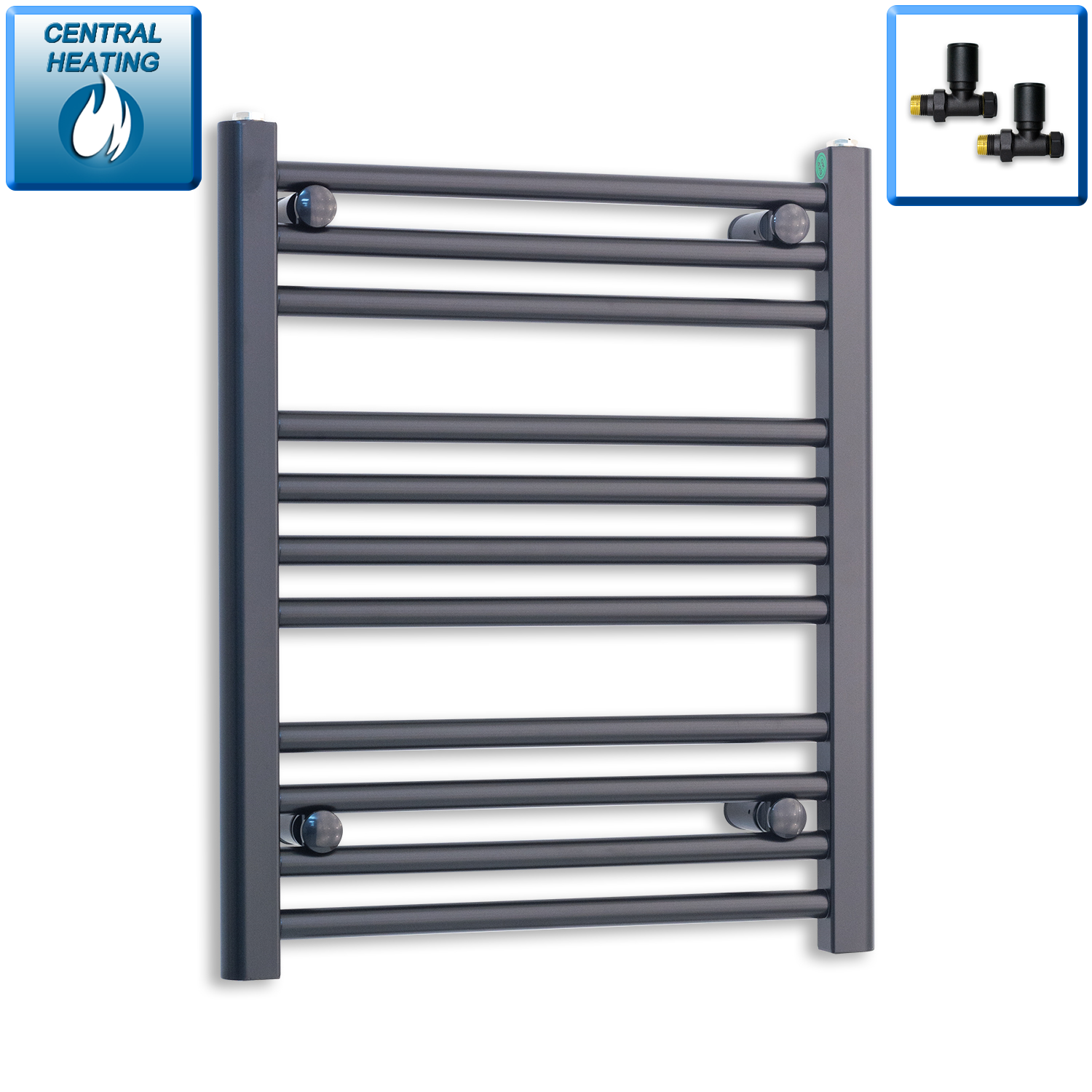 500mm Wide 600mm High Black Towel Rail Radiator With Straight Valve