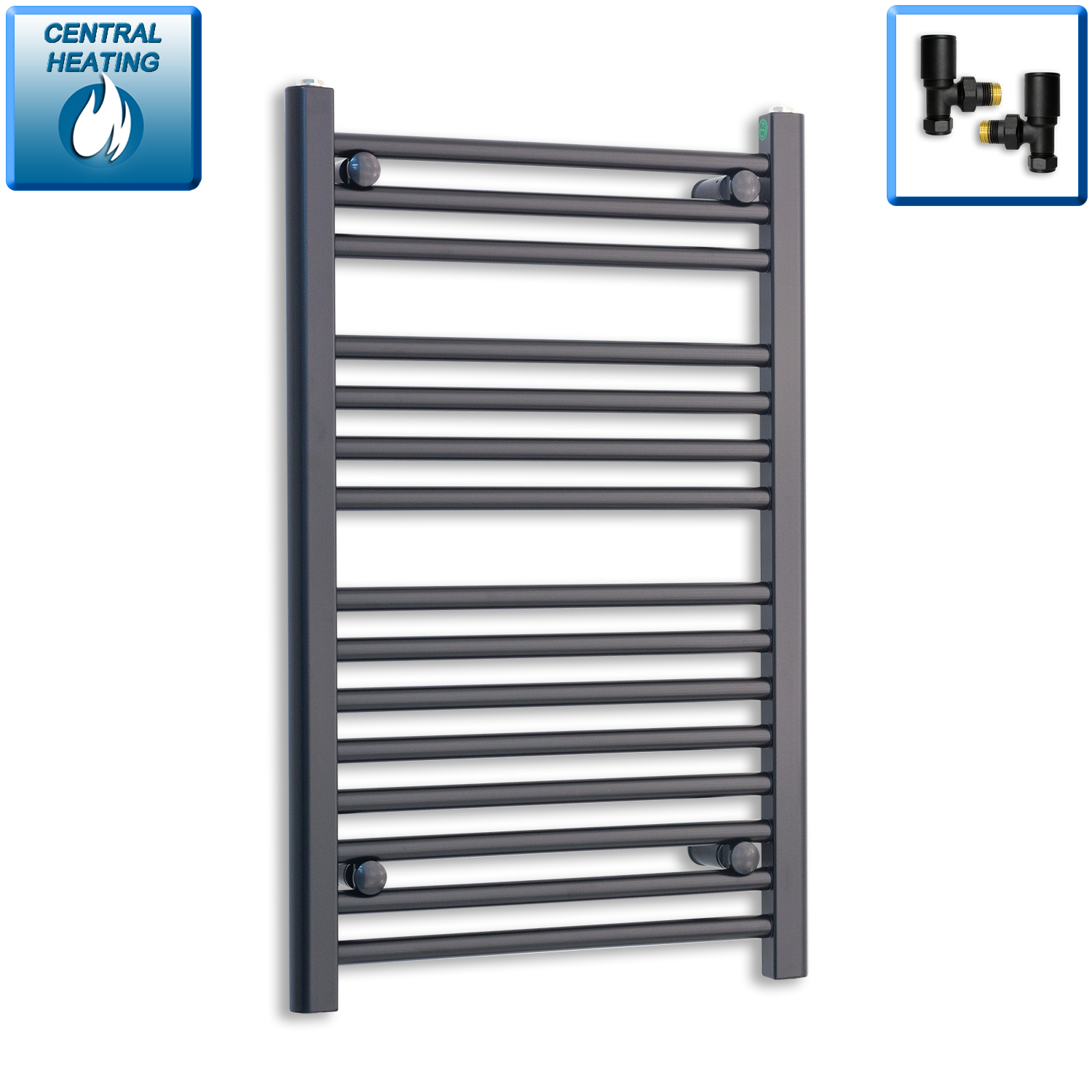 500mm Wide 800mm High Black Towel Rail Radiator With Angled Valve