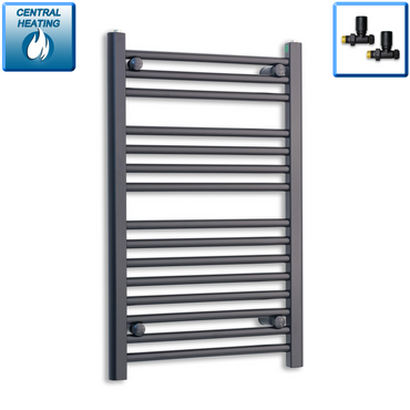 500mm Wide 800mm High Black Towel Rail Radiator With Straight Valve