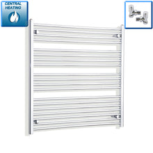 Load image into Gallery viewer, 1000mm Wide 1000mm High Chrome Towel Rail Radiator With Angled Valve