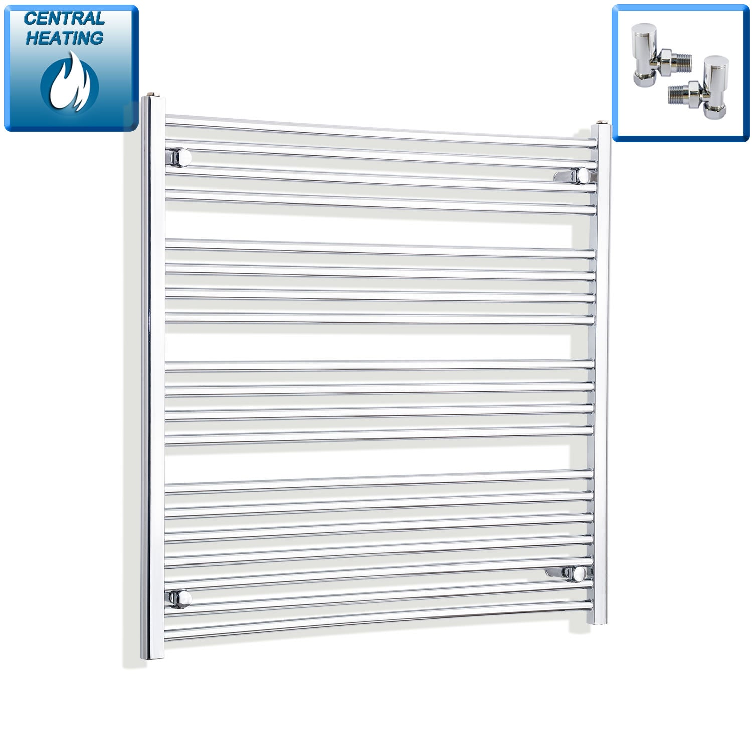 1000mm Wide 1000mm High Chrome Towel Rail Radiator With Angled Valve