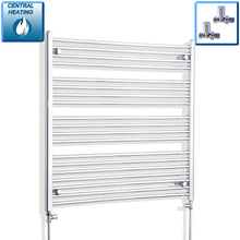 Load image into Gallery viewer, 1000mm Wide 1000mm High Chrome Towel Rail Radiator With Straight Valve
