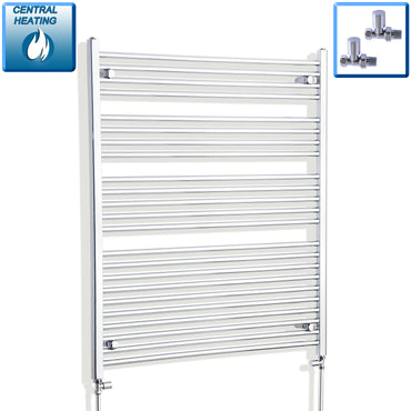 1000mm Wide 1200mm High Chrome Towel Rail Radiator With Straight Valve