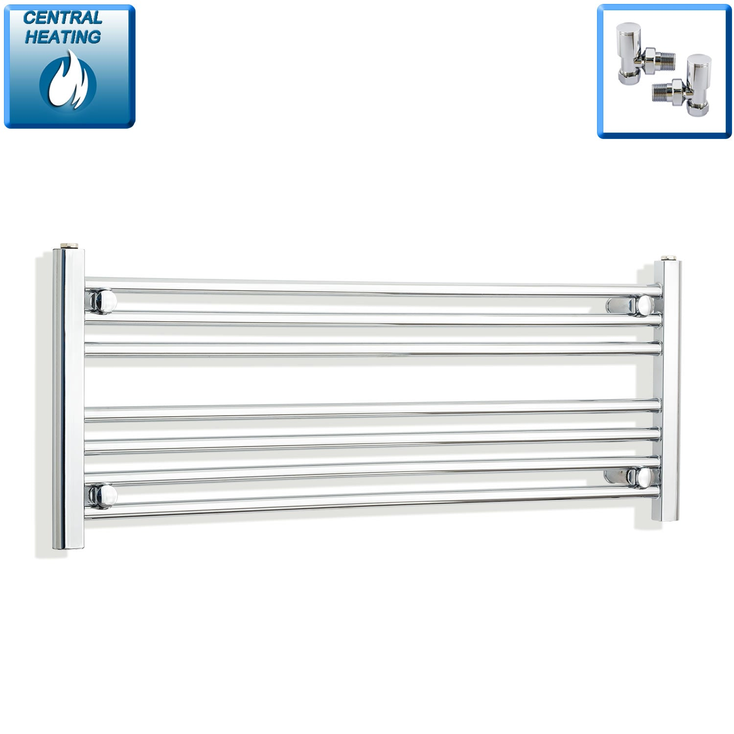 1200mm Wide 400mm High Chrome Towel Rail Radiator With Angled Valve
