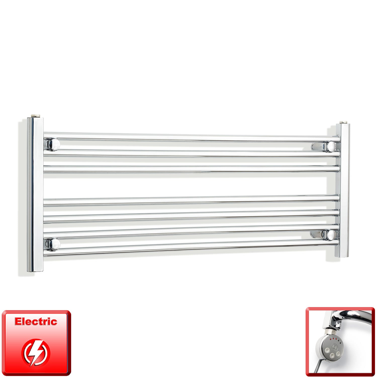 1200mm Wide 400mm High Pre-Filled Chrome Electric Towel Rail Radiator With Thermostatic MOA Element