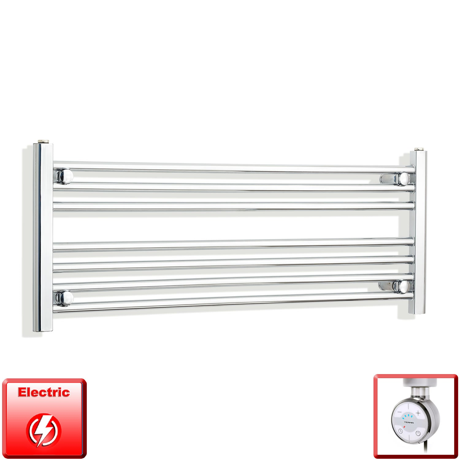 1300mm Wide 400mm High Pre-Filled Chrome Electric Towel Rail Radiator With Thermostatic MOA Element