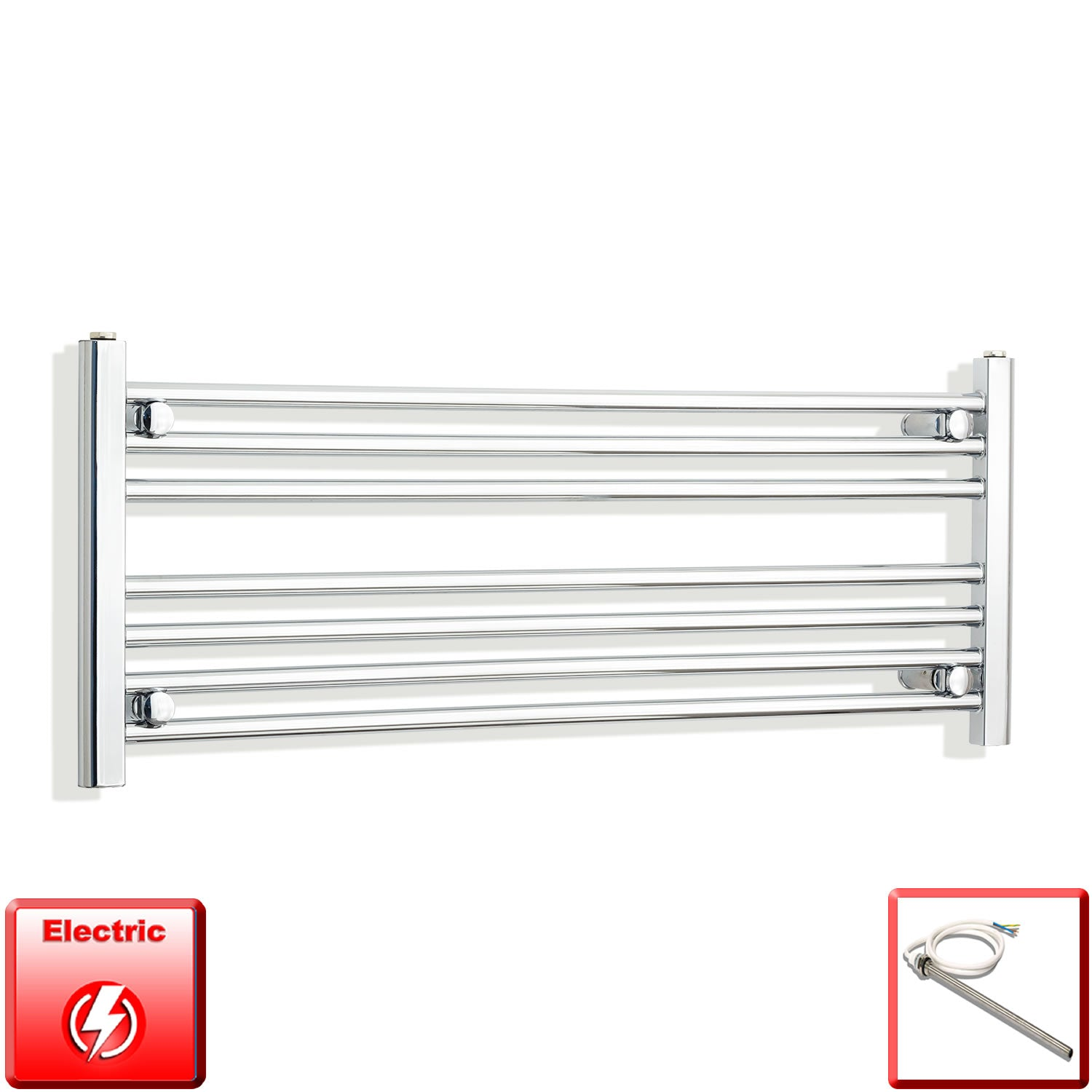1300mm Wide 400mm High Pre-Filled Chrome Electric Towel Rail Radiator With Single Heat Element