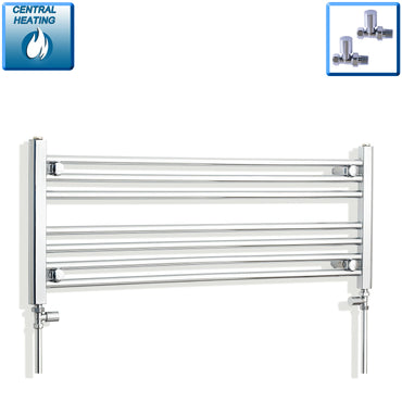 1100mm Wide 400mm High Chrome Towel Rail Radiator With Straight Valve