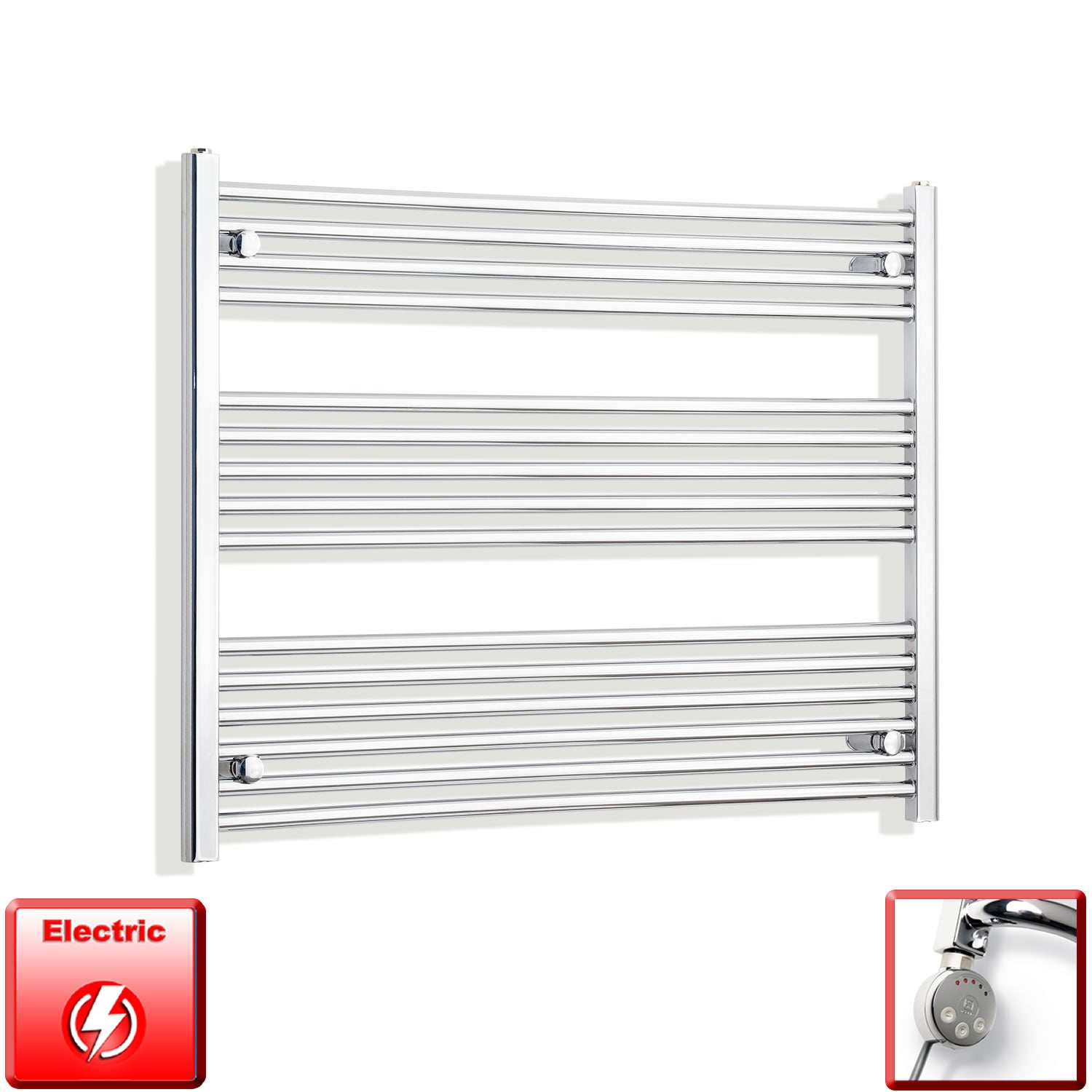 950mm Wide 800mm High Pre-Filled Chrome Electric Towel Rail Radiator With Thermostatic MEG Element