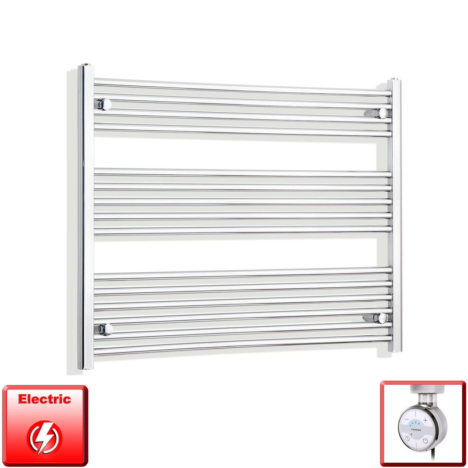 950mm Wide 800mm High Pre-Filled Chrome Electric Towel Rail Radiator With Thermostatic MOA Element