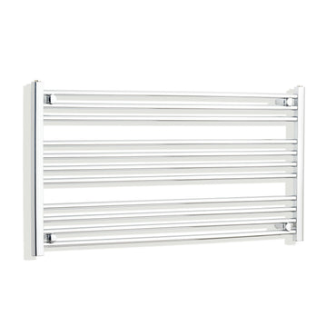 1100mm Wide 600mm High Chrome Towel Rail Radiator With Straight Valve