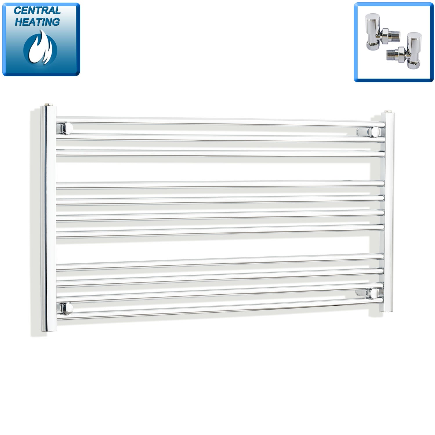 1100mm Wide 600mm High Chrome Towel Rail Radiator With Angled Valve