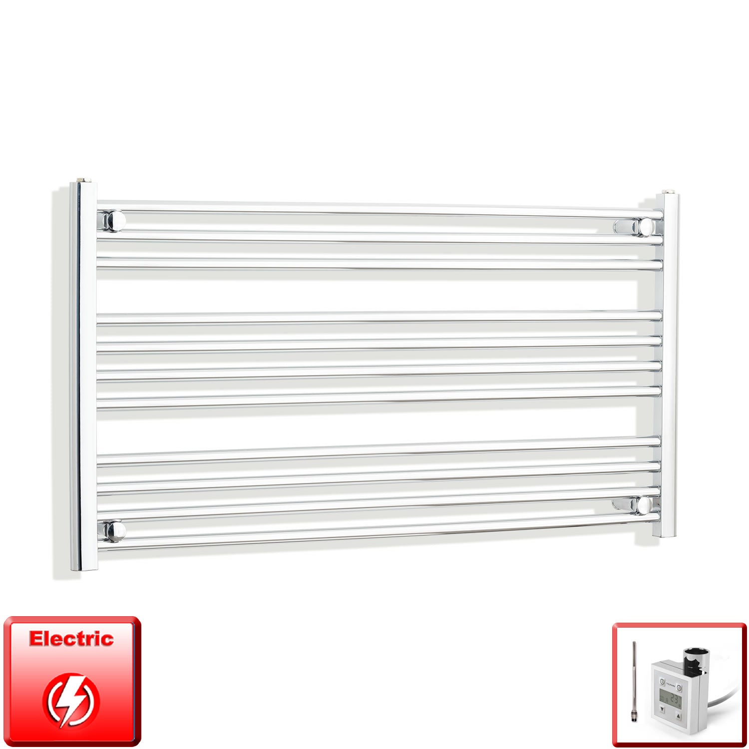 1300mm Wide 600mm High Pre-Filled Chrome Electric Towel Rail Radiator With Thermostatic KTX3 Element
