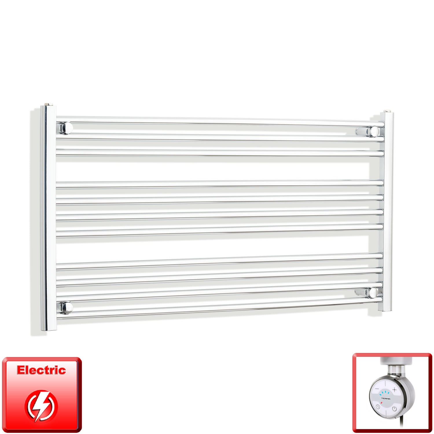 1300mm Wide 600mm High Pre-Filled Chrome Electric Towel Rail Radiator With Thermostatic MOA Element