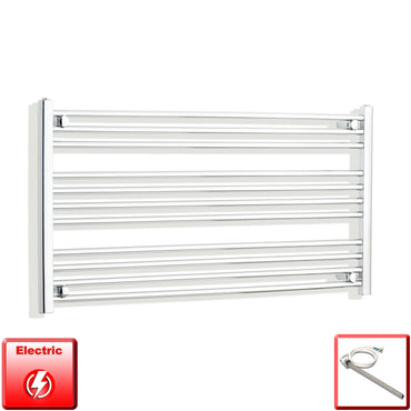 600mm High 1100mm Wide Pre-Filled Electric Heated Towel Rail Radiator Straight Chrome