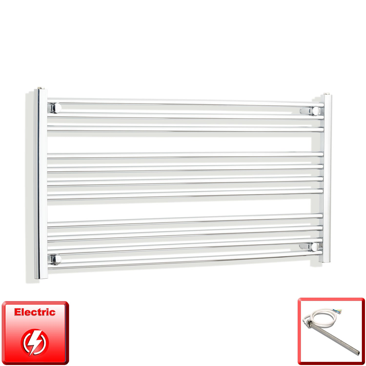 1300mm Wide 600mm High Pre-Filled Chrome Electric Towel Rail Radiator With Single Heat Element