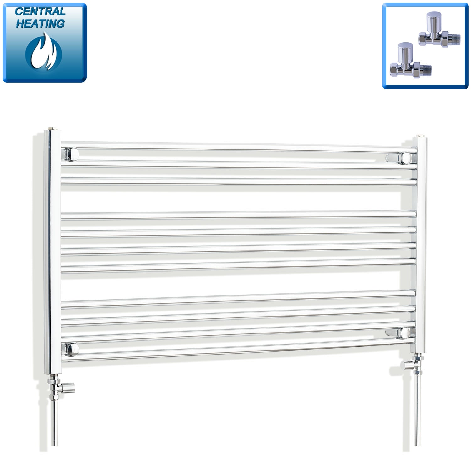 1000mm Wide 600mm High Chrome Towel Rail Radiator With Straight Valve