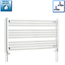 Load image into Gallery viewer, 1300mm Wide 600mm High Chrome Towel Rail Radiator With Straight Valve