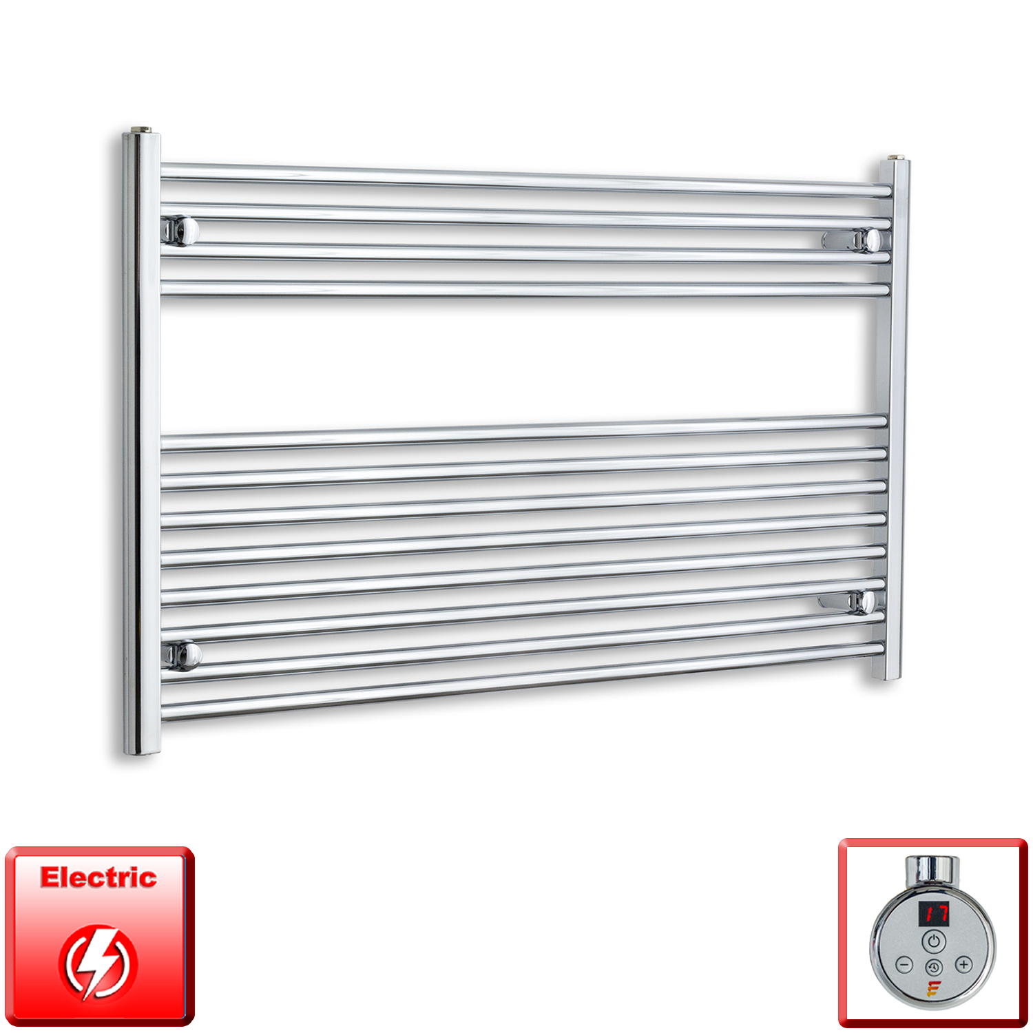 1200mm Wide 700mm High Pre-Filled Chrome Electric Towel Rail Radiator With Thermostatic DIGI Element