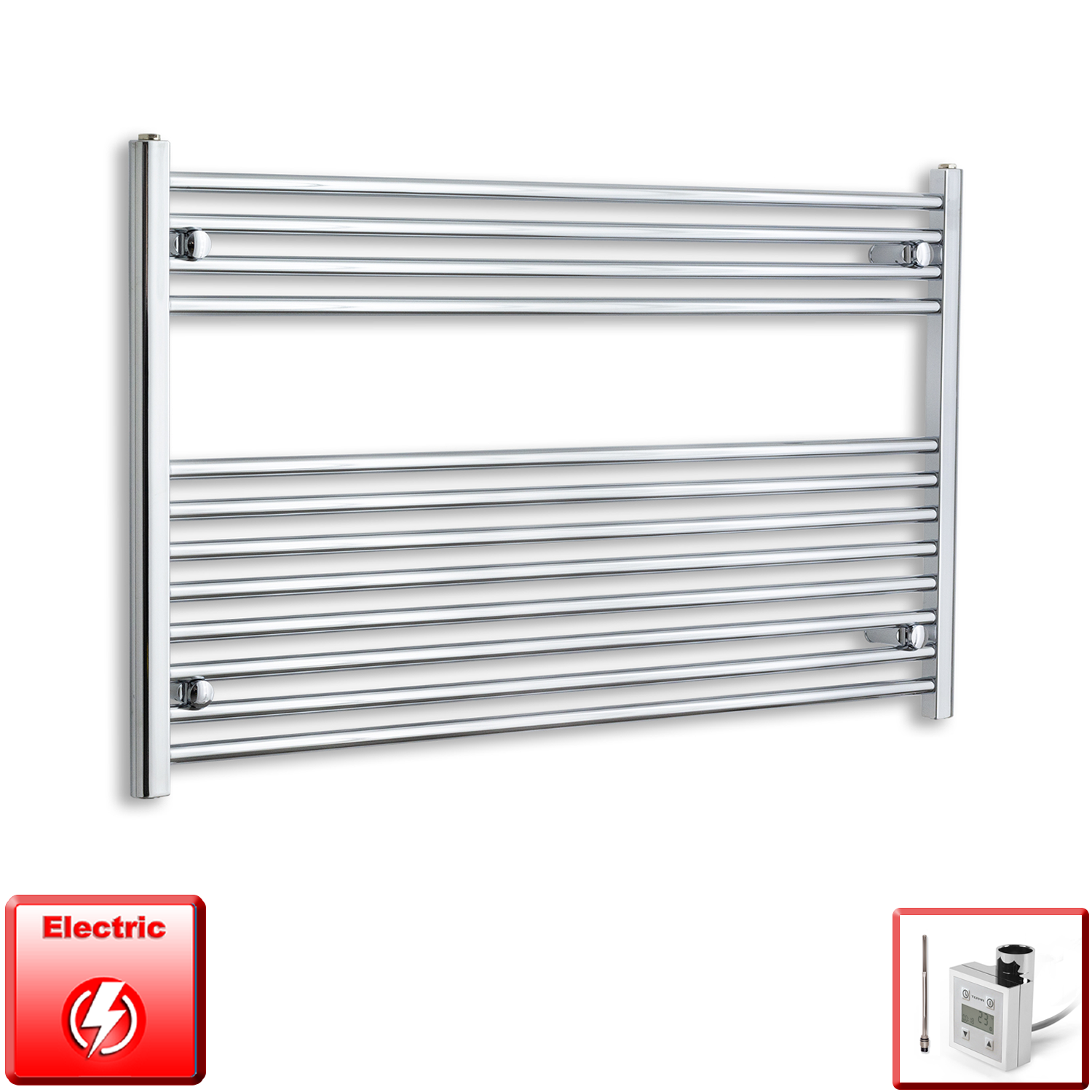 1200mm Wide 700mm High Pre-Filled Chrome Electric Towel Rail Radiator With Thermostatic KTX3 Element
