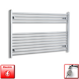 1200mm Wide 700mm High Pre-Filled Chrome Electric Towel Rail Radiator With Thermostatic MEG Element