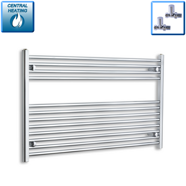 1200mm Wide 700mm High Chrome Towel Rail Radiator With Straight Valve