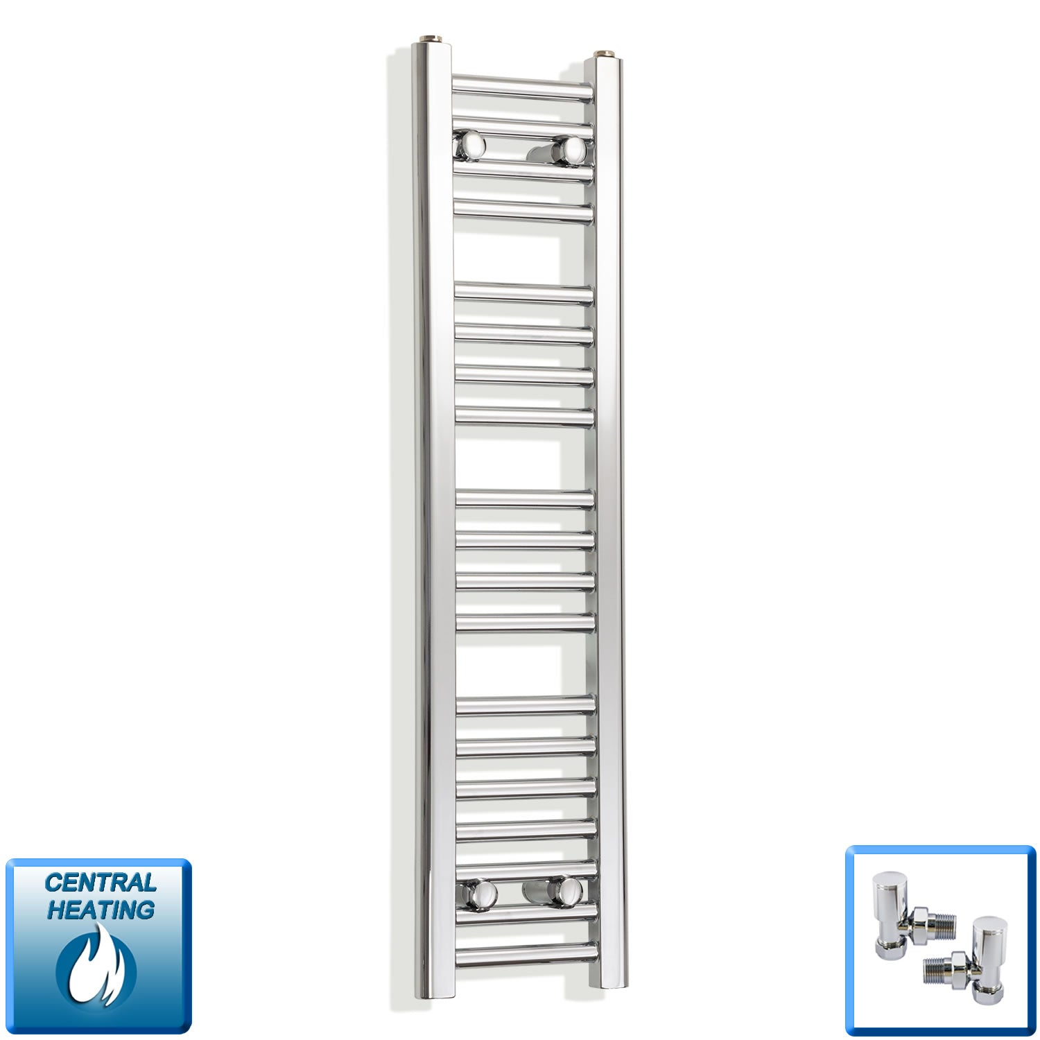 250mm Wide 1000mm High Chrome Towel Rail Radiator With Angled Valve