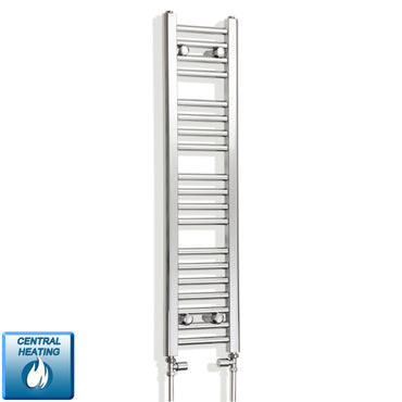 250mm Wide 1000mm High Chrome Towel Rail Radiator With Straight Valve