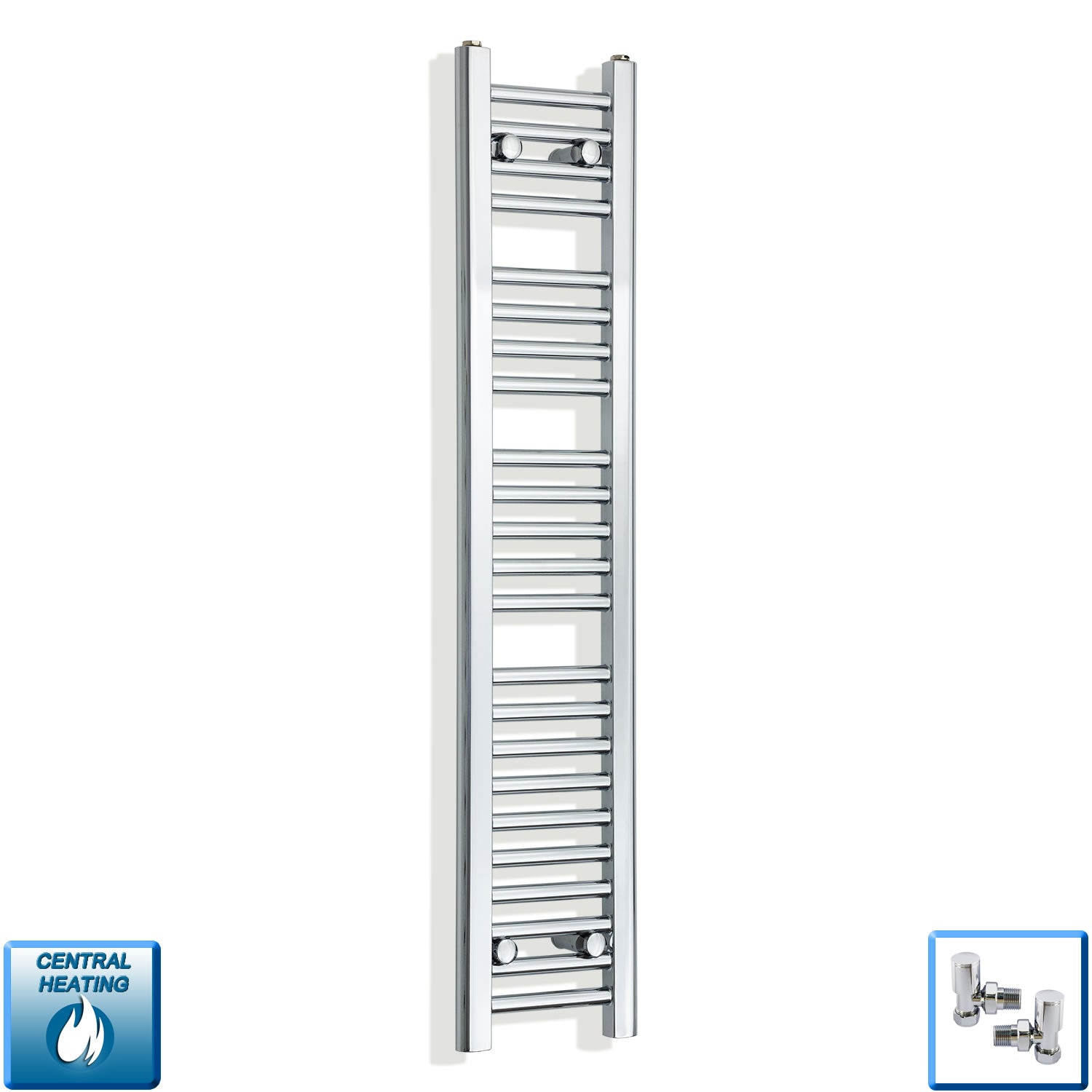 250mm Wide 1200mm High Chrome Towel Rail Radiator With Angled Valve