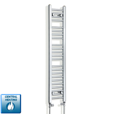 250mm Wide 1200mm High Chrome Towel Rail Radiator With Straight Valve