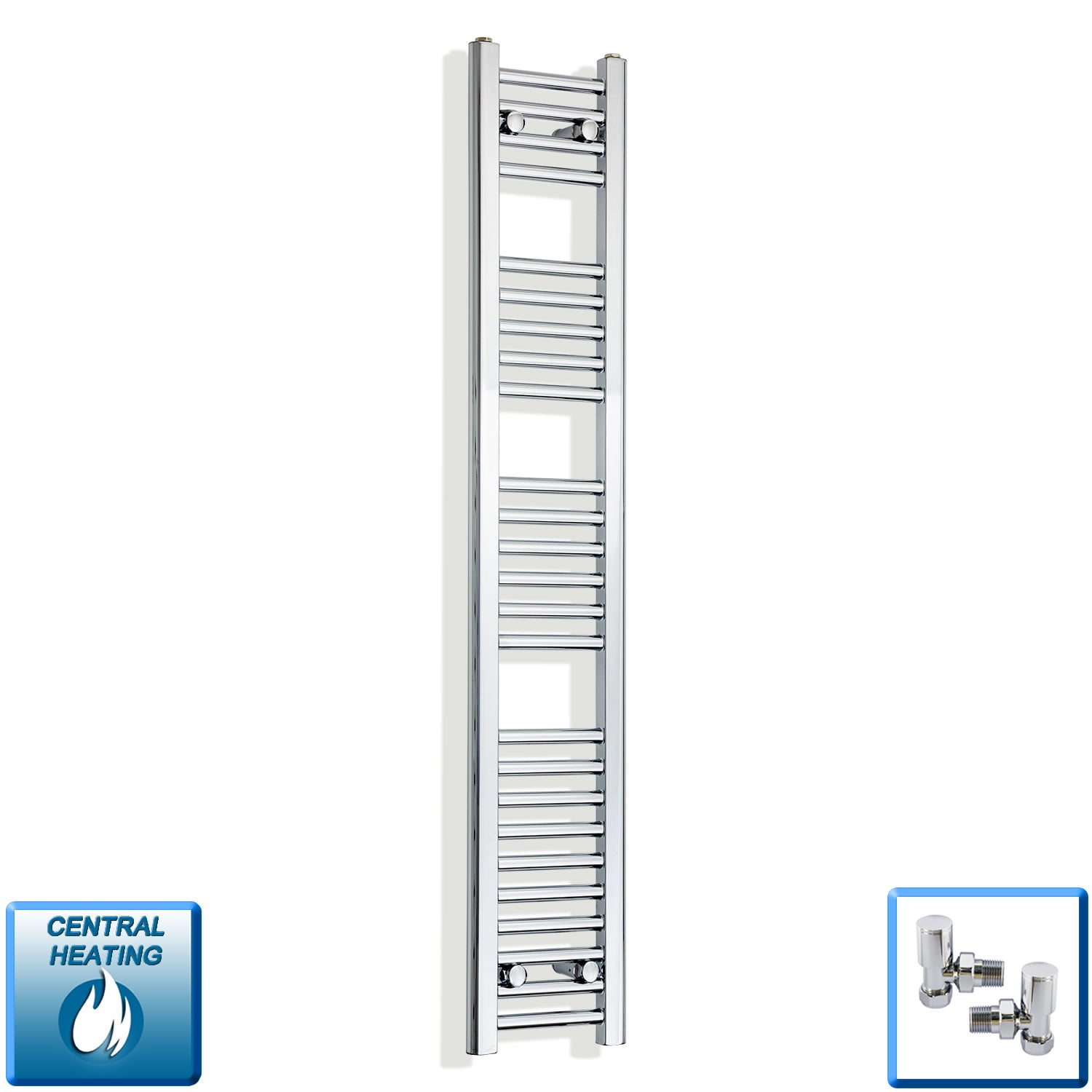 250mm Wide 1400mm High Chrome Towel Rail Radiator With Angled Valve