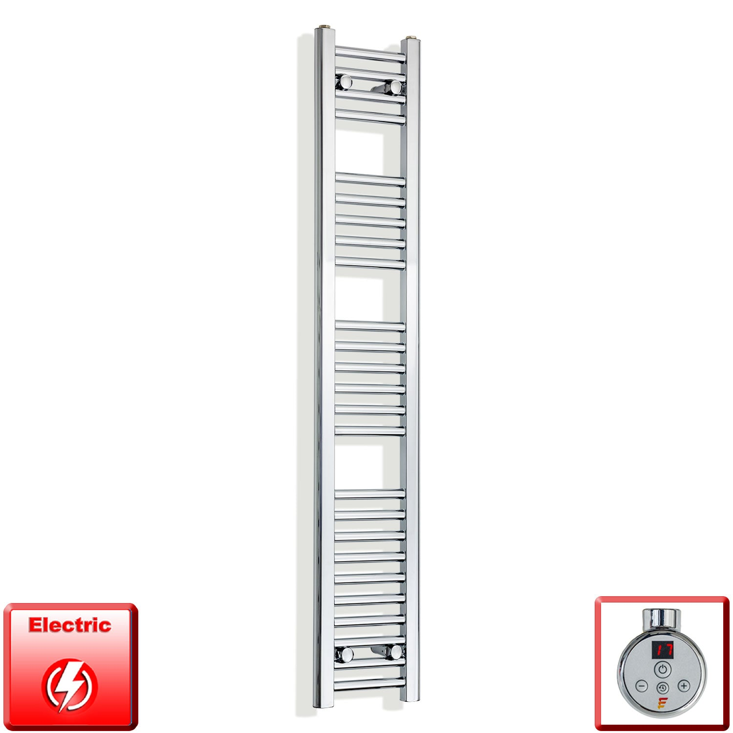 250mm Wide 1400mm High Pre-Filled Chrome Electric Towel Rail Radiator With Thermostatic DIGI Element