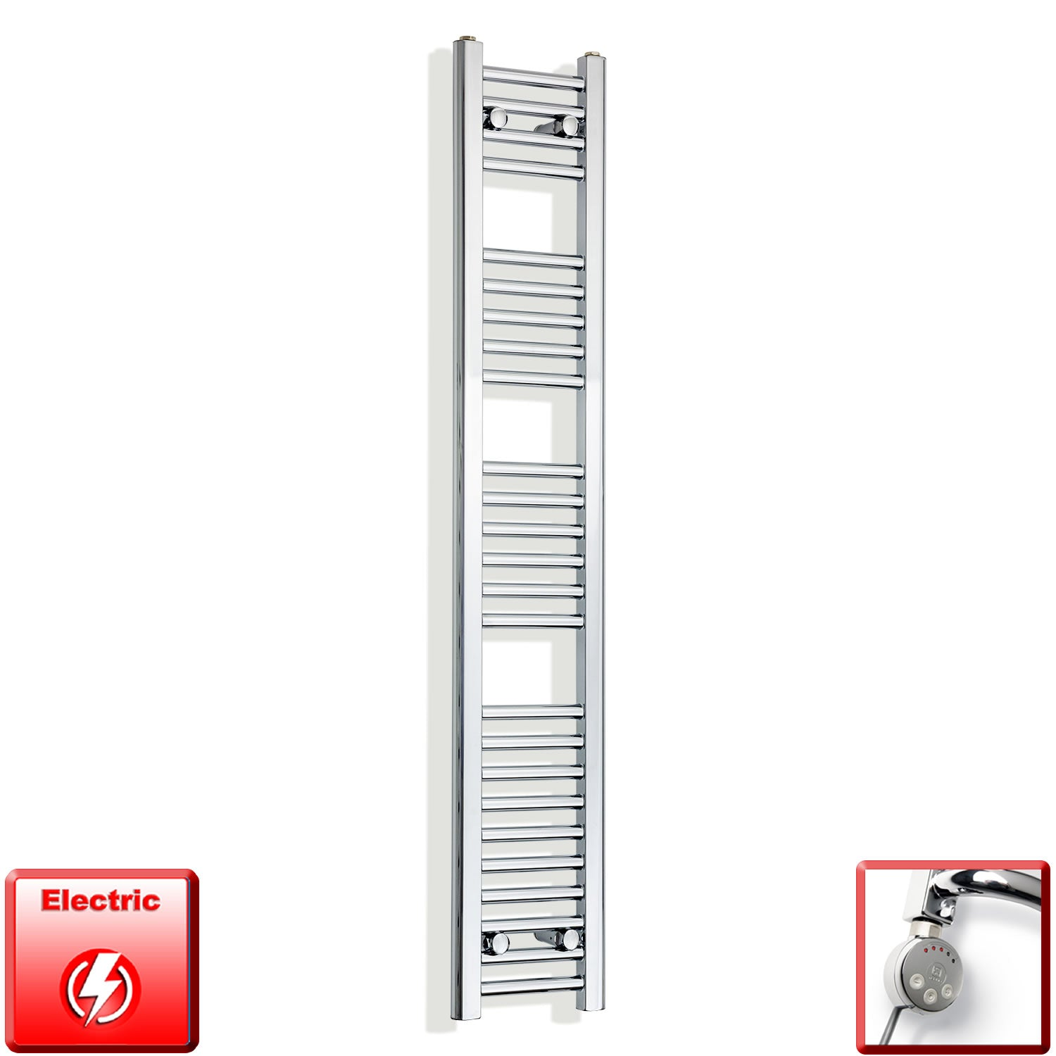 250mm Wide 1400mm High Pre-Filled Chrome Electric Towel Rail Radiator With Thermostatic MEG Element